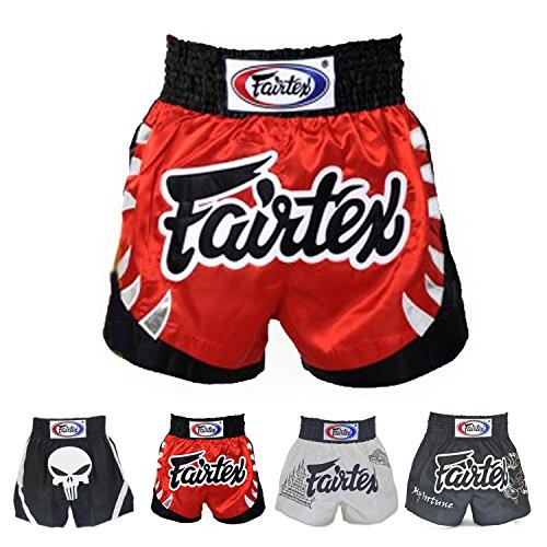Fairtex Muay Thai Boxing Shorts Red Black White Size S M L XL XXL (3L) (Ferocious Red L)