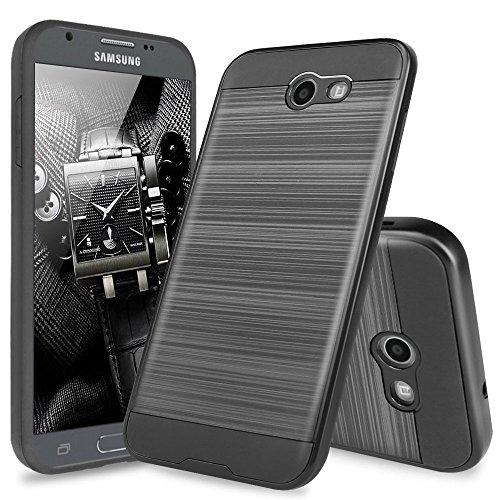 Samsung Galaxy J7 Sky Pro Case, Galaxy J7 Perx Case, Galaxy J7 V Case, Galaxy Halo Case, Galaxy J7 Prime Case, TJS Dual Layer Hybrid Shockproof Case Metallic Brush Finish With Hard Inner Layer (Black)
