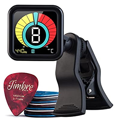 TimbreGear Beast Chromatic All Instrument Tuner, Acoustic Guitar, Electric Guitar, Bass Guitar, Ukelele, Violin, Banjo + Includes 18 celluloid Guitar Picks .46mm .71mm .81mm .96mm.1.2mm