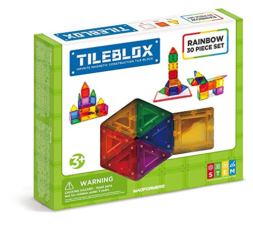 Construction 30 Set Piece (Tileblox Rainbow (30 pieces)  with Magnetic    Activity Board Magnetic    Building      Blocks, Educational  Magnetic    Tiles Kit , Magnetic    Construction  STEM Toy Set)