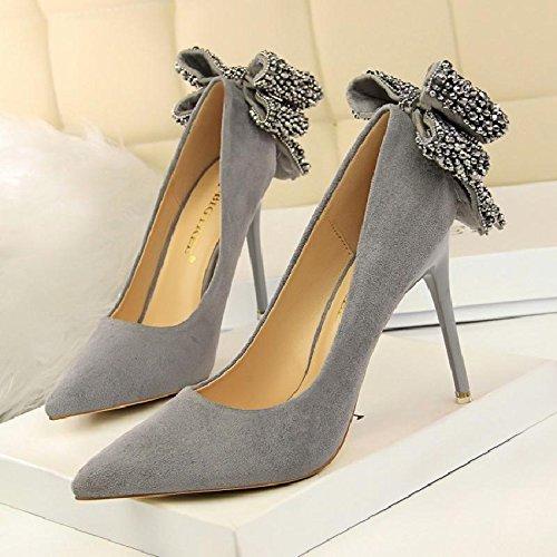 Mujer Broca Femeninos Pajarita La Mujer Mate Bien De Heel Shoes GAOLIM De Inserte Primavera De Zapatos Con Está Alta Gris Punta La Zapatos Zapatos De La Singles Luz f6qY7UwE