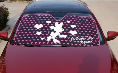 Minnie Mouse Classic with Hearts and Bow White Silhouette and Pink Hearts Disney  Car Truck SUV Front Windshield Sunshade - Accordion Style  Amazon.co.uk  ... b83c455d607