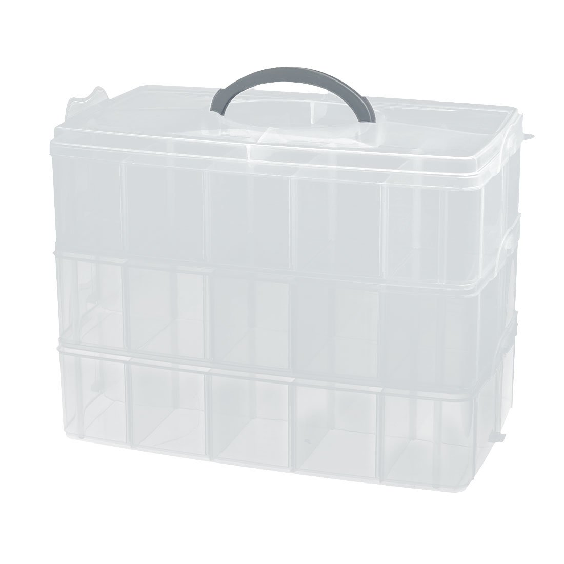 uxcell Portable Rectangle Shaped 3-Layers Jewelry Container Storage Case Clear