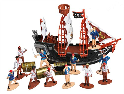Toy Pirate Ship, Figures and Mini Treasure Chests Bundle Pack for Party Decorations or Birthday Cake Toppers