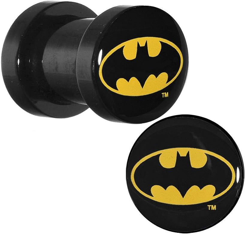 2 de gran calibre acrílico de color negro con el Logo de Batman roscada caja de herramientas para: Body Candy: Amazon.es: Joyería