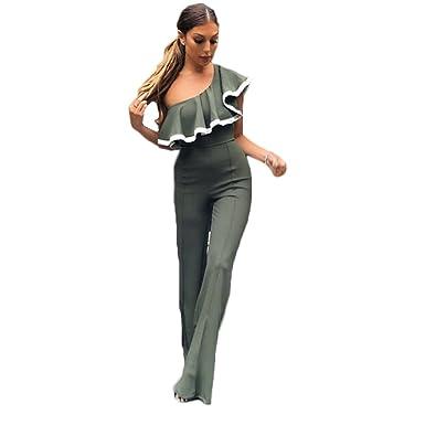 273e873afdc7 Amazon.com  Women Sexy Single Shoulder Slim Fit Solid Colour Falbala Collar Long  Romper Jumpsuit Loose Pants Coveralls  Clothing