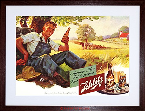 AD DRINK ALCOHOL BEER LAGER ALE FARMER USA FRAMED PRINT F12X2194 Dark Ale Frame