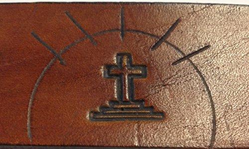 Handmade Mens Leather Belt Brown Religion Western Work Casual Belt 1.5