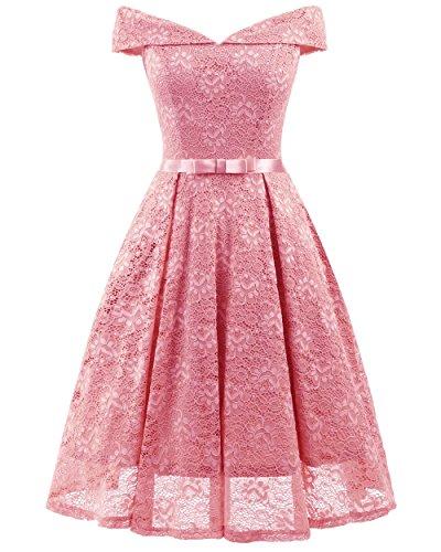 BeNicer Women Off Shoulder Summer Dress - A Line Knee Length Lace Dress for Party (2018)