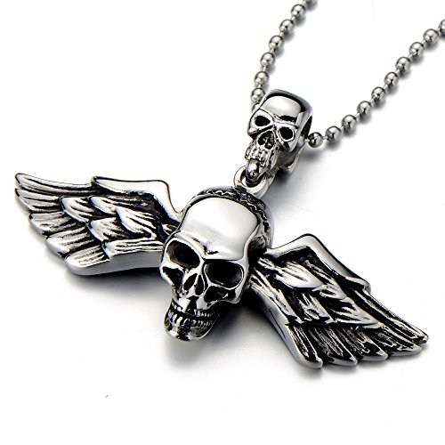 (COOLSTEELANDBEYOND Stainless Steel Angle Wings Skull Pendant Necklace for Men for Women Gothic Punk Rock 23.6in Chain )