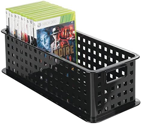 mDesign CD Storage Box - Black Plastic CD Holder - Storage System for CDs, DVDs, Blu-Rays PS4 and Xbox One Games - DVD Storage Box
