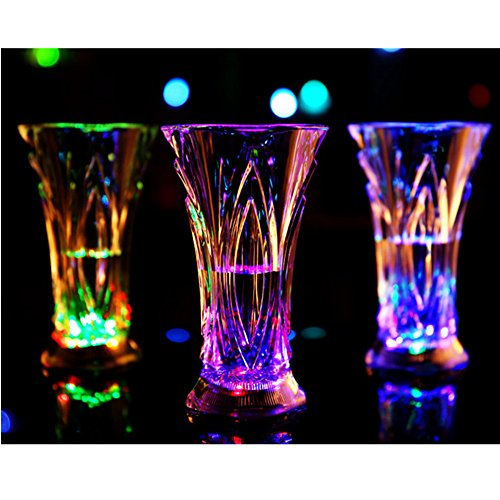 LED Glowing Cup, Leagway Water Activated Color Changing Flashing Light Up Wine Glass, Blinking Beer Vodka Whisky Cup for Bar Club Birthday Party KTV Christmas Wedding Drinking