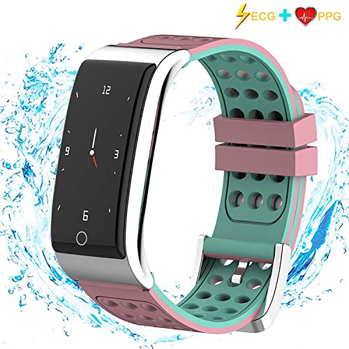 iSwim Fitness Tracker, ECG PPG Heart Rate Monitor Watch Color Screen,IP67 Waterproof, Step Counter, Calorie Counter, Sleep Monitor, Pedometer, Smart Watch Kids Women Men-Pink