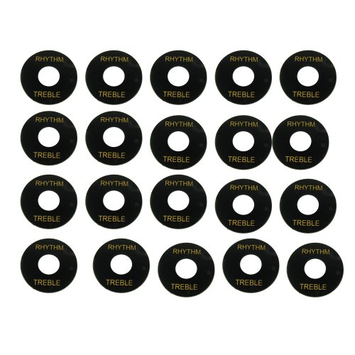 Musiclily Plastic Switch Plates Toggle Marker Switch Washer Treble Rhythm Ring for Gibson Les Paul SG Style Guitar Replacement, Black (Pack of 20) (Part Black 20k)
