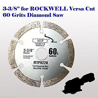 "MTP brand 60 Grits 3-3/8 inch 15mm arbor Diamond Circular Saw Blade for Rockwell Versacut Versa Cut Rk3440k, Makita 3-3/8"" Cordless Sh01w 12v Tile Grout Concrete, Brick, Block, Masonry"