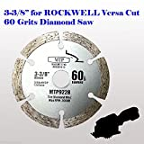 60 Grits 3-3/8-inch Diamond Circular Saw Blade for Rockwell Versacut Versa Cut Rk3440k , Makita 3-3/8' Cordless Sh01w 12v Tile Grout Concrete, Brick, Block, Masonry