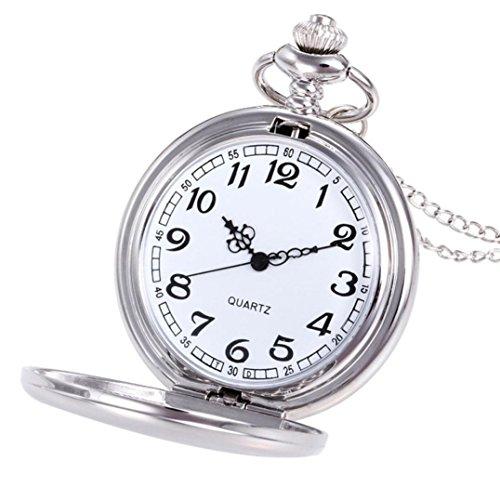 Watch,YJYdada Crown Unisex Fashion Bronze Chain Necklace Pocket Watch (Silver)