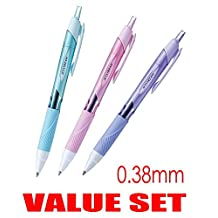 """uni-ball Jetstream Extra Fine & Micro Point Click Retractable Roller Ball Pens,-Rubber Grip Type -0.38mm-Black Ink-Color Body Type-Sky Blue,Light Pink,Lavender Body- Each 1 Pen- Value Set of 3(With Our Shop Original Product Description)"