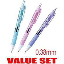 uni-ball Jetstream Extra Fine & Micro Point Click Retractable Roller Ball Pens,-Rubber Grip Type -0.38mm-Black Ink-Color Body Type-Sky Blue,Light Pink,Lavender Body- Each 1 Pen- Value Set of 3