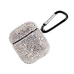 Silver Rhinestone AirPods Case with Keychain