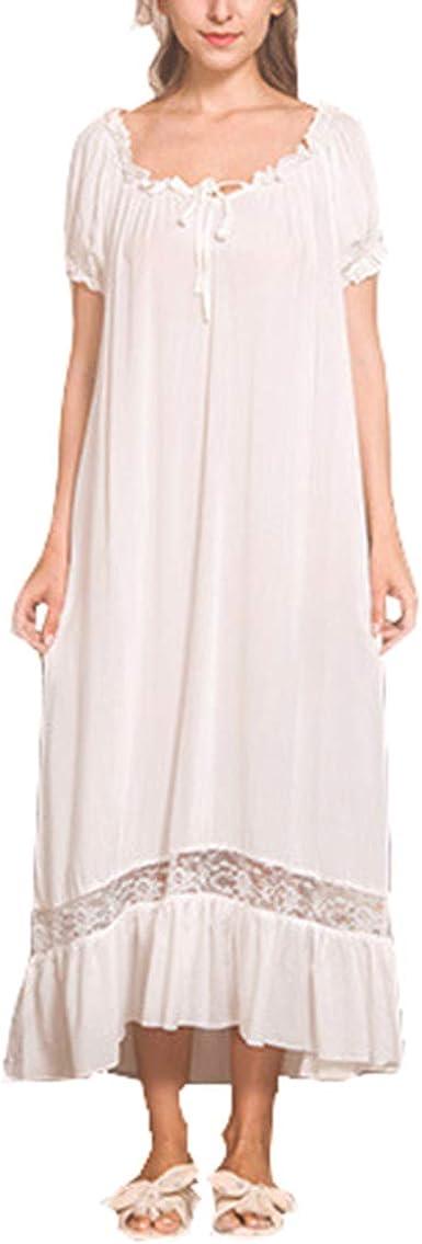 Camisones para Mujer, Largo Camisón Blanco Algodón Vintage Casual Manga Corta Sleepdress: Amazon.es: Ropa y accesorios