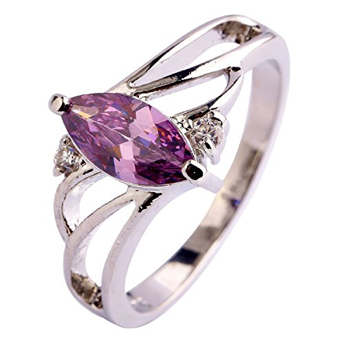 Agate Topaz Ring - Veunora Jewelry 925 Sterling Silver Created Marquise Amethyst Gemstone Filled Eternity Ring for Women Size 7