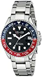 SO&CO New York Men's 5021.2 Yacht Club Stainless Steel Date Luminous Hands and Markers Blue and Red Unidirectional Bezel Stainless Steel Link Bracelet Watch