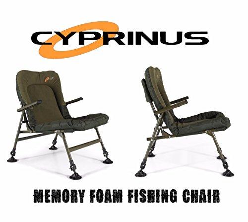 Cyprinus Memory Foam Lo-Chair Lightweight Arm chair for Carp Coarse Fishing...