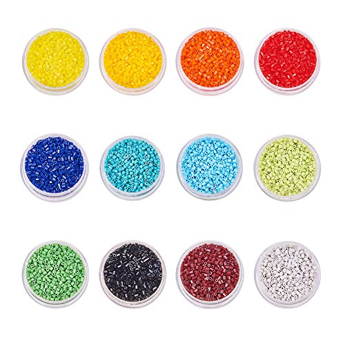 Glass Cut Seed Beads (BENECREAT About 44000 Pcs 11/0 MGB Japanese Glass Seed Beads Opaque Color 2-Cut Seed Beads for Jewelry Making - Hole Size 0.8mm, 12 Color)