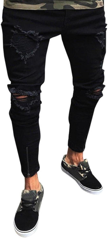 TnaIolral Men Pants Stretchy Ripped Skinny Biker Destroyed Taped Slim Fit Denim Jeans