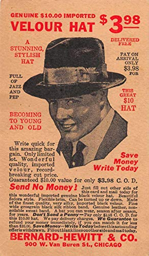 - Chicago Illinois Bernard Hewitt Men's Velour Hat Ad Vintage Postcard JA455422