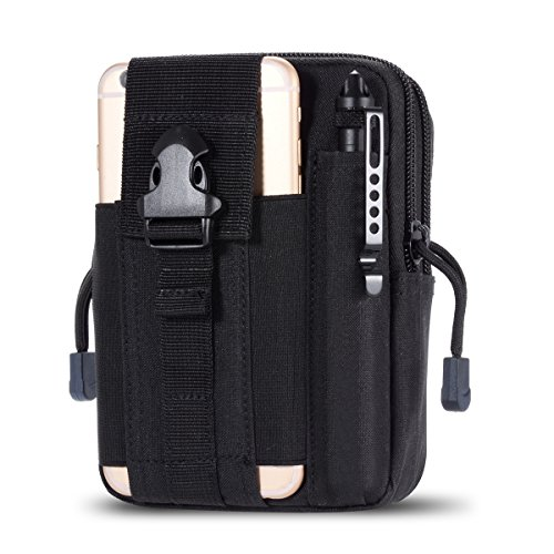(Zeato Tactical Molle EDC Utility Pouch Compact Gadget Belt Waist Pack with Cell Phone Holster Holder for iPhone Xs Max/XR/Xs/X,Galaxy S10e/S10/S10 Plus/Note 9/S9 Plus/S9 LG Sony and More (Black))