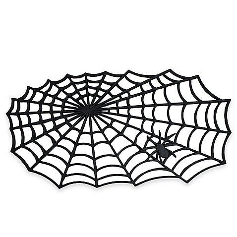 Halloween Spider Web 19.5-Inch x 34.5-Inch Rubber Door Mat 100% rubber (1) (Web Doors)