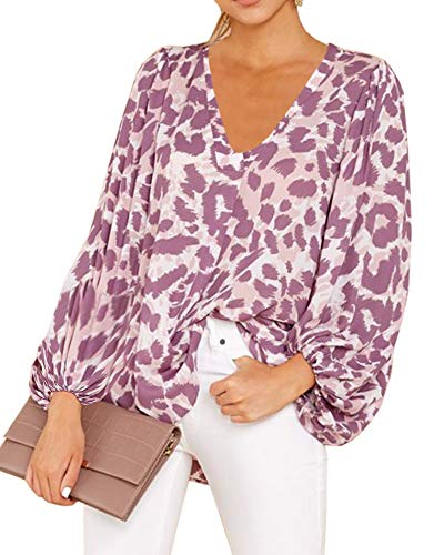 - Umeko Womens Sexy V Neck Chiffon Blouses Tops Oversized Long Lantern Sleeve Pullover Shirts (Large, Y-Floral Purple)
