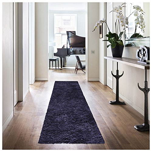 """Superior Elegant Shag Rug, Plush and Cozy Hand Tufted Area Rugs, Chic and Contemporary Eyelash Shag Rug with Cotton Backing - 2'6"""" x 8' Runner, Navy Blue (Chic Hand Tufted Rug)"""