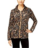 Karen Scott Womens Printed Velour Blazer Jacket Brown P - Petite