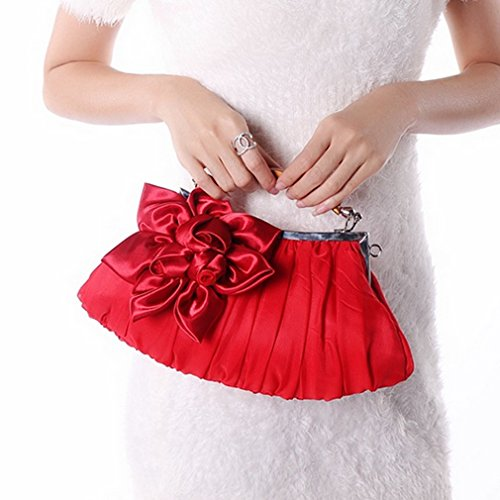 Wedding Bags Thenice Flowers Red Evening Women's Clutch Silk 4qHpZtxwH