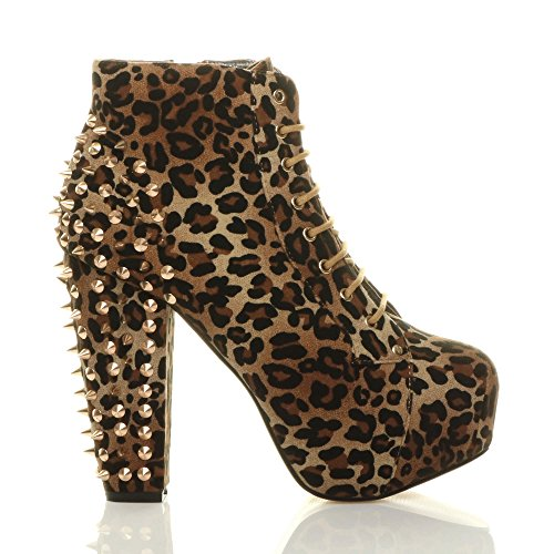 high Studs Ajvani boots ankle heel ladies Leopard up size lace booties Suede block wooden Womens Studded Spike platform UgqT0