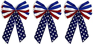 product image for Independence Bunting - 3-Pack! 6 Loop - Red, White & Blue Patriotic Bows. American Made 4th of July Ribbon Bow are Good for Inside and Outdoors.