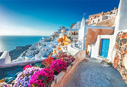(Laeacco 10x8ft Picturesque Santorini Foreground Scenic Vinyl Photography Background Seaside Traditional Santorini Houses Flowers Backdrop European Greece Landscape Wallpaper Greek Party )