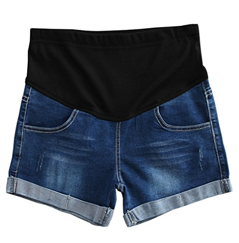 Qin.Orianna Summer Pregnant Women Adjustable Elastic Care Belly Maternity Denim Shorts (Asian XL, Dark Blue)