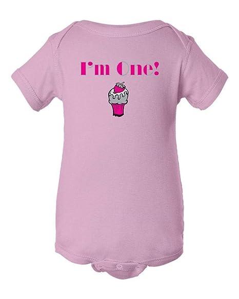 Festive Threads Birthday Im One Strawberry Cupcake Baby Bodysuit Pink