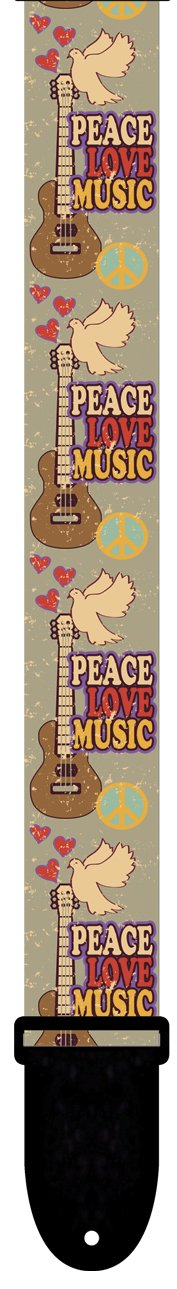 Perris LPCP-6795 2'' Polyester Praise Collection Peace Love Music Guitar Strap