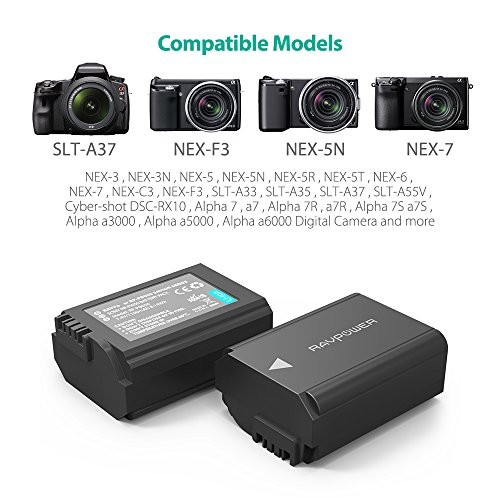 A7SII RX10 Accessories A7S A7R2 A7II A55 A7S2 A6400 A7RII A7 NP-FW50 RAVPower 2-Pack Camera Battery Compatible with Sony A6000 Battery Black A6300 A6500 A5100 A7R