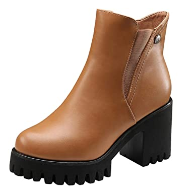 MYMYG Damen Stiefeletten Frauen High Heel Schuhe Martain Boot Leder  einfarbig Runde Zehe Reißverschluss Schuhe Ankle f2fe921b7b