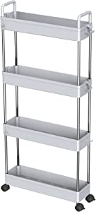Ronlap 4 Tier Slim Storage Rolling Cart, Plastic Slide Out Storage Organizer Tower, Narrow Mobile Shelving Unit with Handle, Skinny Utility Cart with Wheels for Kitchen Bathroom Laundry Room, Grey