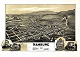Historic Map of Hamburg Pennsylvania 1889 Berks County (18x24 Paper Poster)