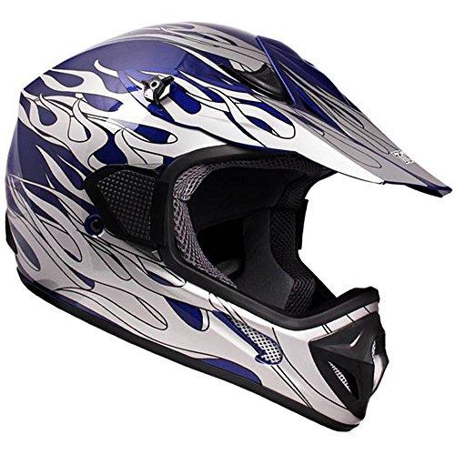 TMS Adult Tms Blue Flame Dirtbike ATV Motocross Helmet Mx Off-road (Medium) (Atv Helmets For Adults Small)