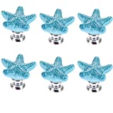 WElinks Starfish Shape Door Knobs - 6Pcs Starfish Closet Drawer Knobs Kitchen Cabinet Hardware Knob Ceramic Door Cupboard Handles Pulls with Screws for Home Kitchen Office Chest Cabinet Drawer