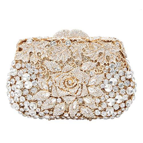 Fawziya Rose Metallic Clutch Purses And Handbags For Womens Evening Bags-Gold